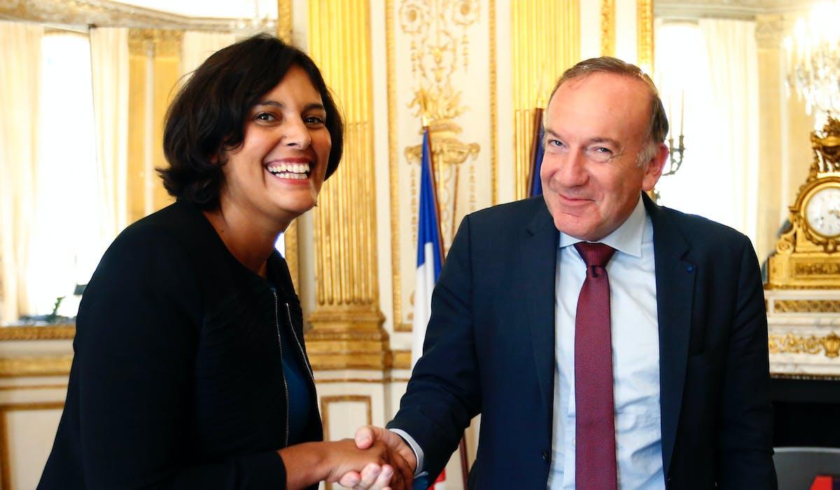 Myriam El Khomri et le président du Medef, Pierre Gattaz, en septembre 2015 au ministère du Travail.