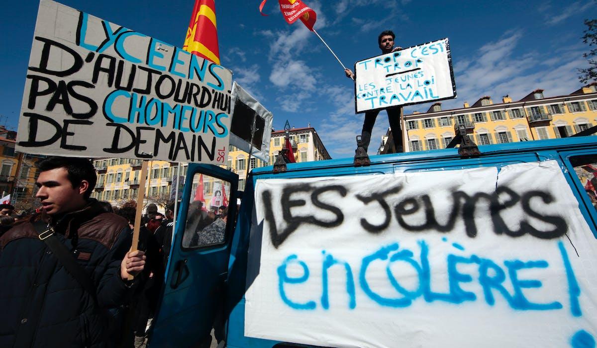 A Nice, lors d'une manifestation contre la loi Travail, le mercredi 9 mars.