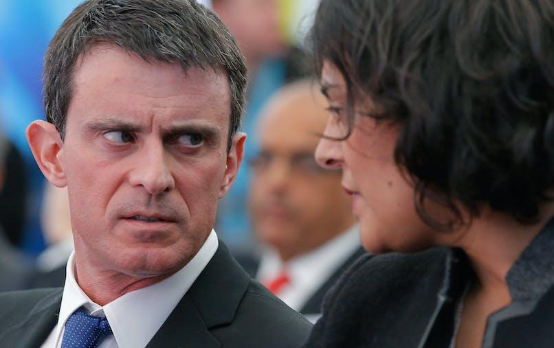 Manuel Valls et sa ministre du Travail, Myriam El Khomri, en février dernier.