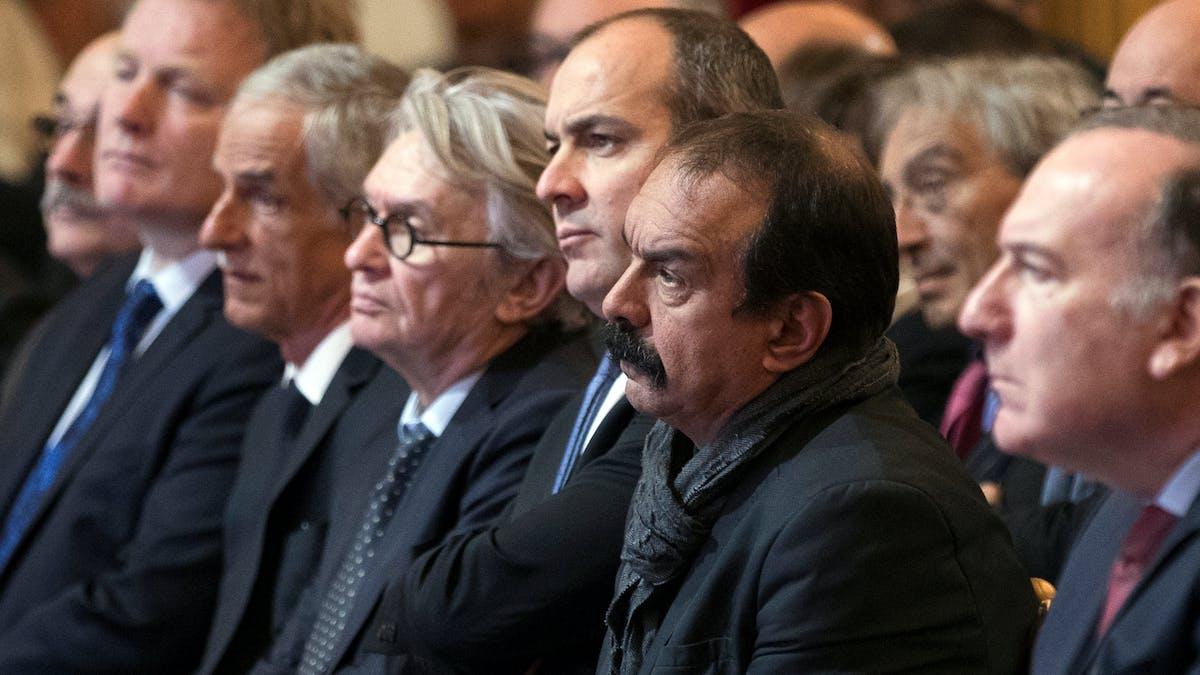 Le président du Medef, Pierre Gattaz (à droite), près de Philippe Martinez, Laurent Berger et Jean-Claude Mailly, secrétaires généraux respectivement de la CGT, de la CFDT et de FO.