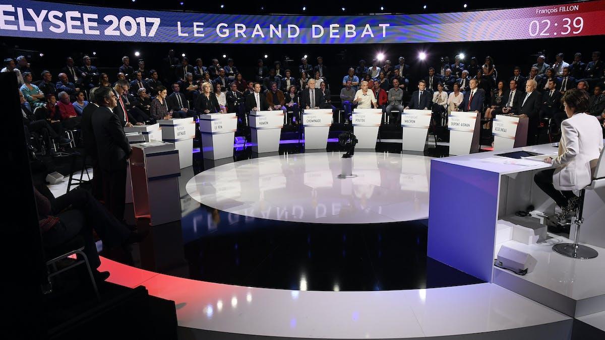 Les candidats à l'élection présidentielle, lors du débat diffusé sur BFMTV et CNews mardi 4 avril.