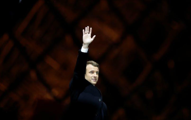 Emmanuel Macron au Carrousel du Louvre à Paris, au soir de sa victoire à l'élection présidentielle, le 7 mai.