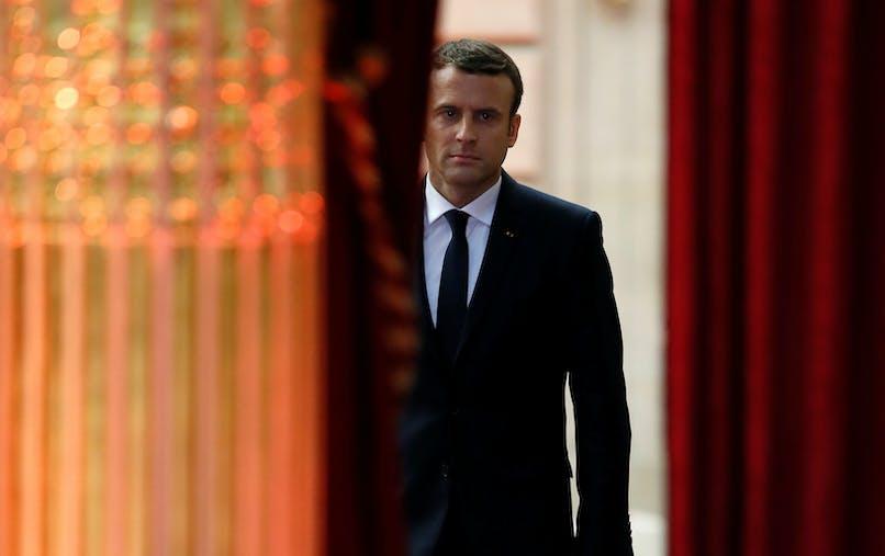 Emmanuel Macron avant de prononcer son discours d'investiture, dimanche 14 mai à l'Elysée.