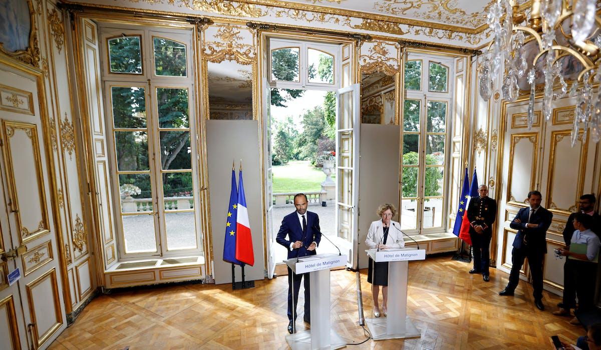 Edouard Philippe et Muriel Pénicaud jeudi à Matignon, lors de leur conférence de presse sur la réforme.