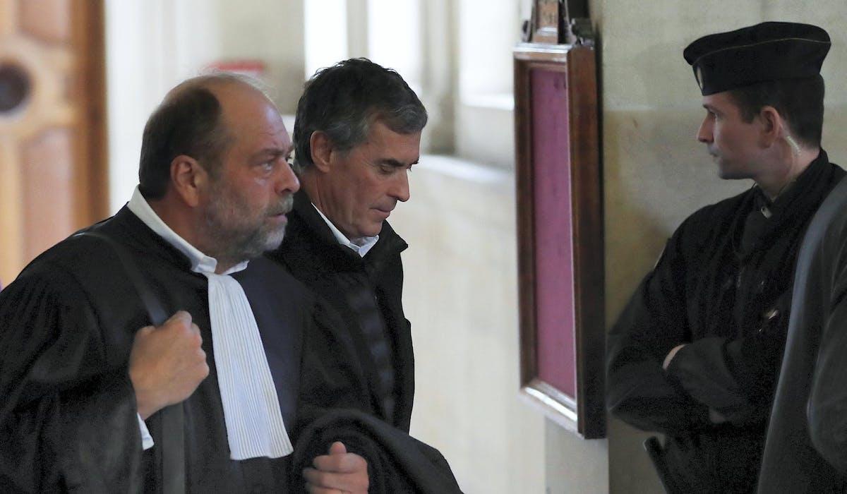 Jérôme Cahuzac et Eric Dupont-Moretti, le 12 février, durant le procès en appel de l'homme politique déchu.