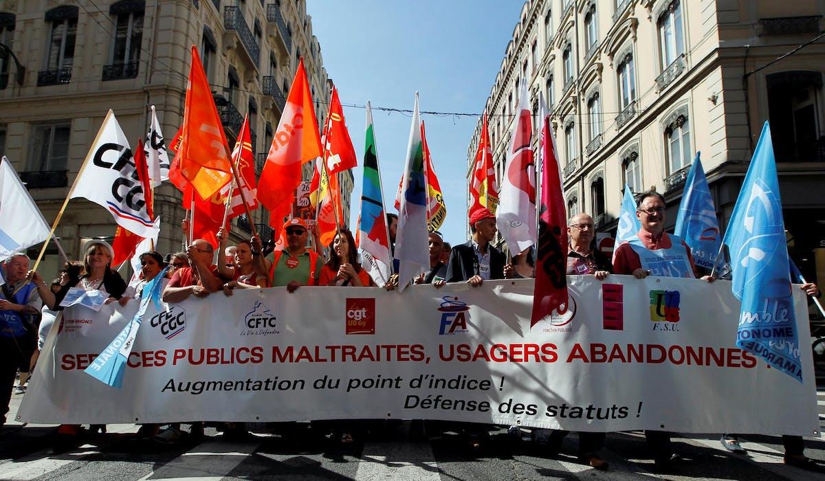 Des manifestants mardi 22 mai, à Lyon.