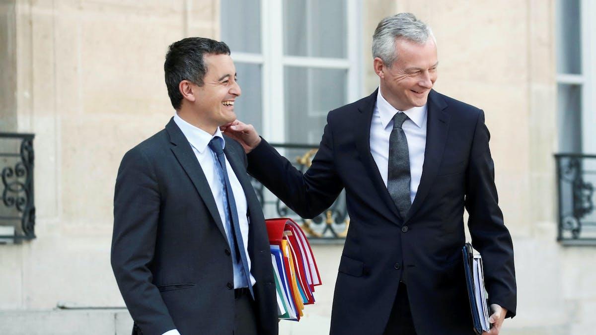 Les ministres Gérald Darmanin (Action et comptes publics) et Bruno Le Maire (Economie), lundi à l'Elysée.