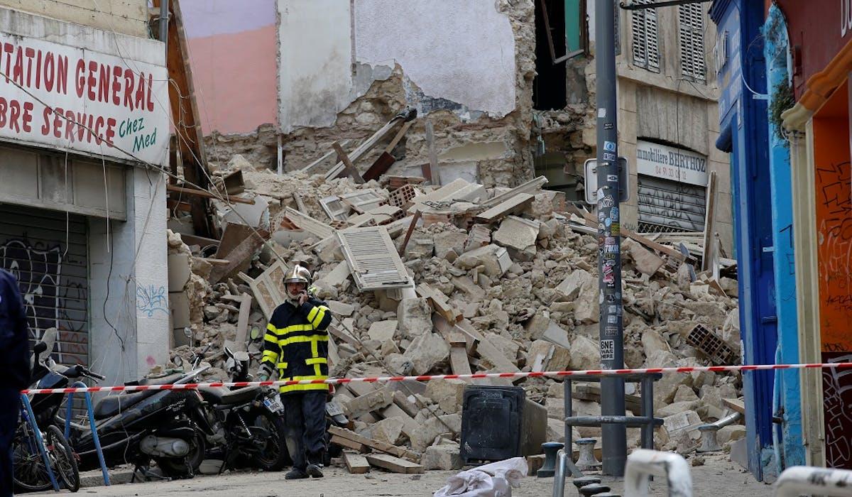 Les deux immeubles qui se sont effondrés lundi à Marseille.