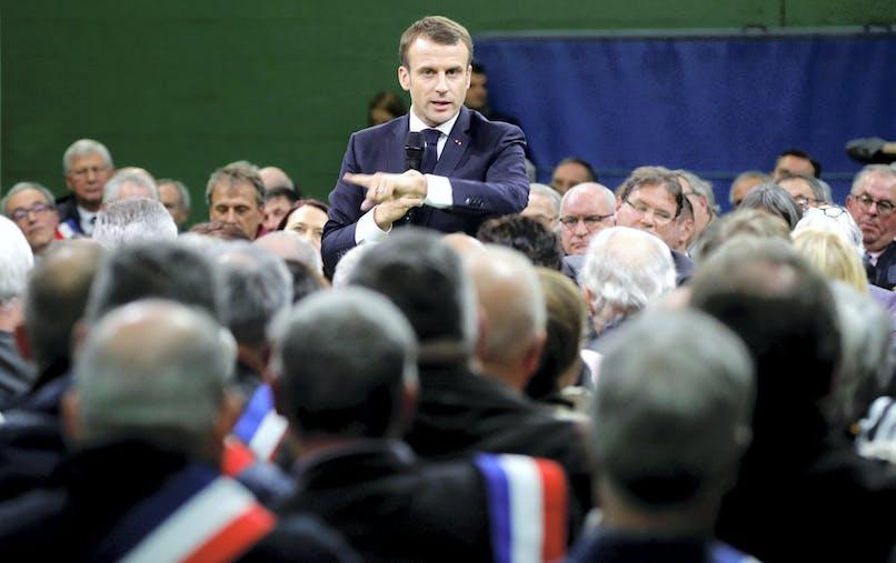 Emmanuel Macron mardi à Grand Bourgtheroulde, pour l'ouverture du grand débat national.
