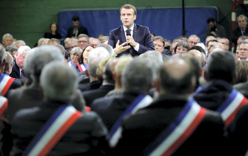 Emmanuel Macron à l'ouverture du grand débat national, le 15 janvier à Grand Bourgtheroulde (Eure).