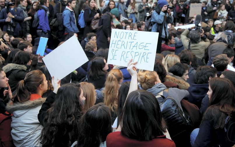 Un rassemblement du mouvement « Fridays for future » devant le ministère de la Transition écologique et solidaire, le 15 février.