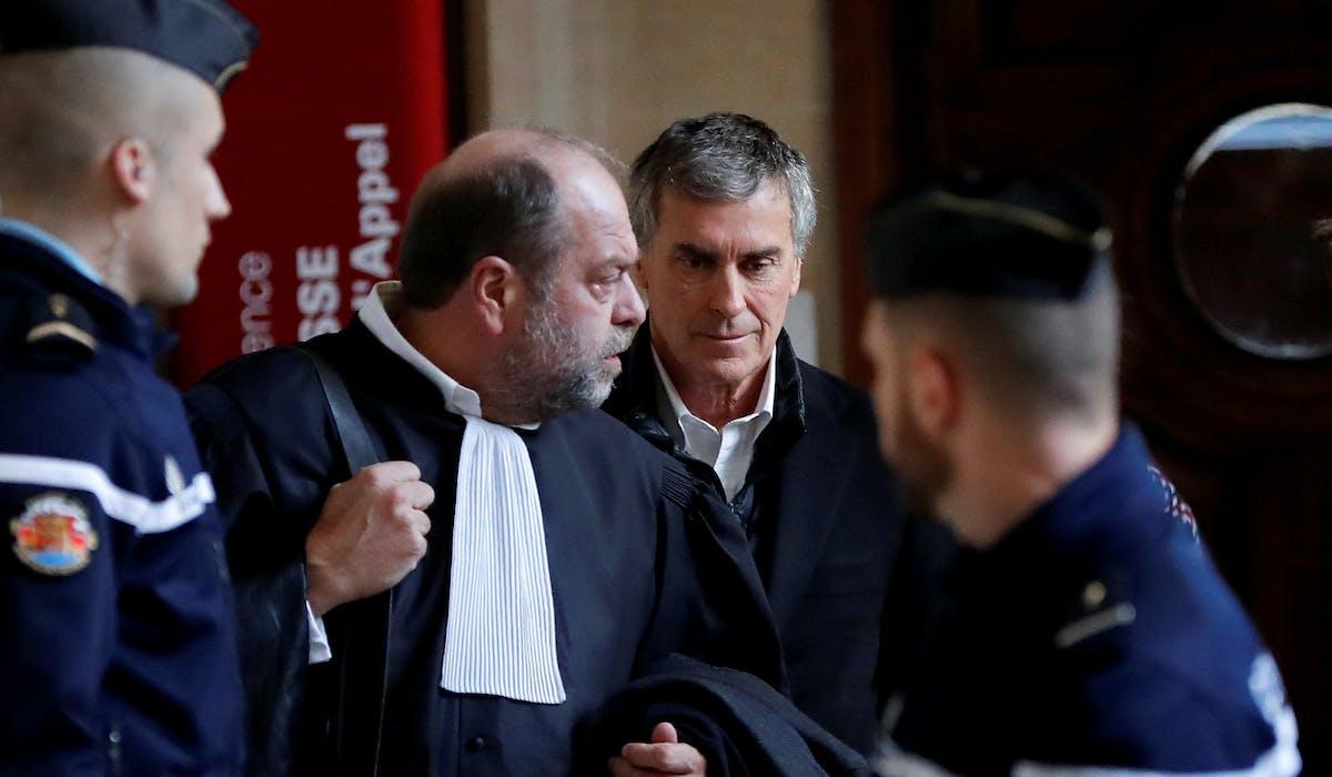 Eric Dupond-Moretti et Jérôme Cahuzac lors du procès en appel de l'ancien ministre, en février.