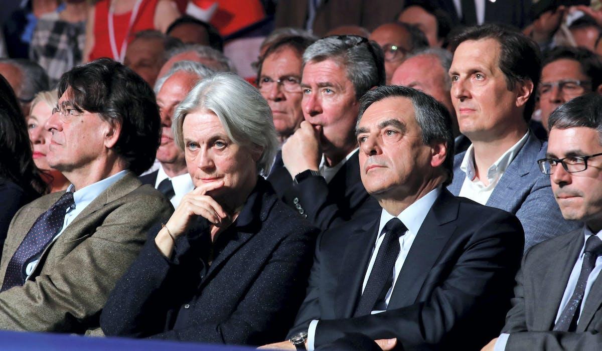 François et Penelope Fillon lors d'une réunion publique à Paris, le 9 avril 2017.