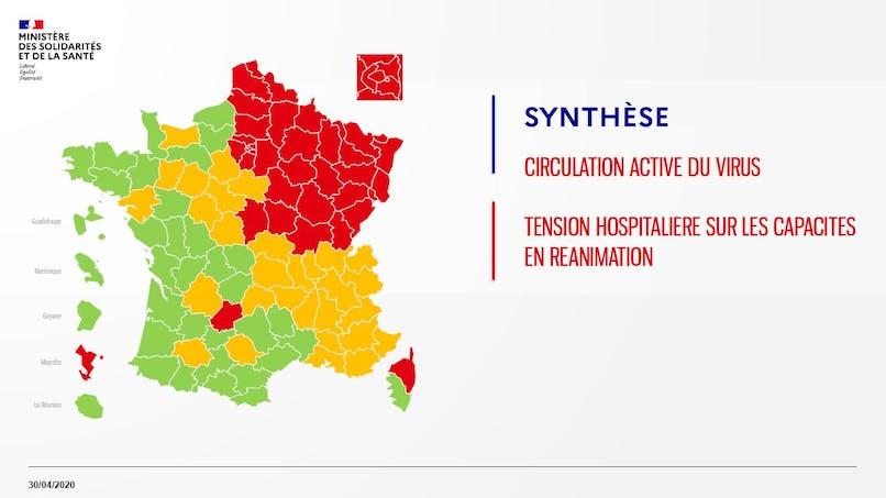 Déconfinement : la carte des départements en rouge, orange ou vert