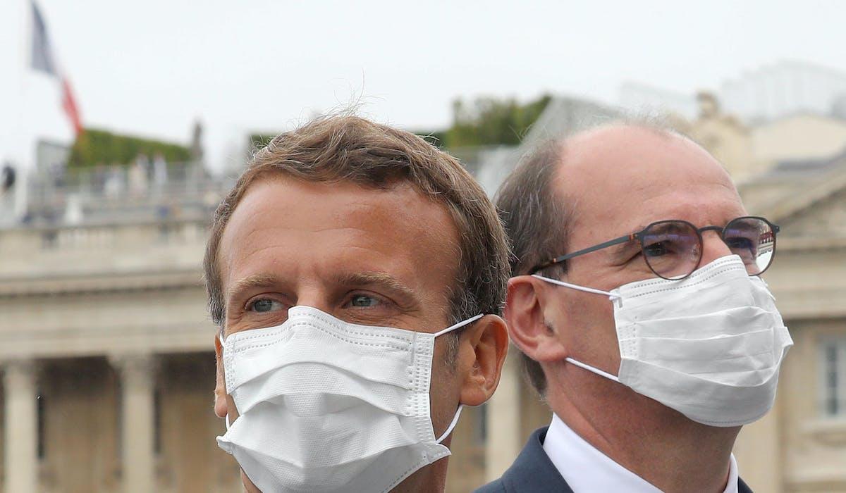 Emmanuel Macron et le Premier ministre, Jean Castex, place de la Concorde à Paris, lors de la cérémonie du 14 juillet.