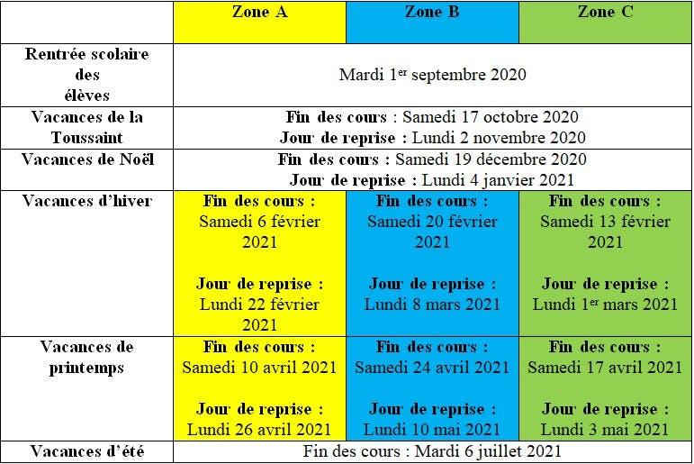 Vacances scolaires et jours fériés 2020   2021 : le calendrier