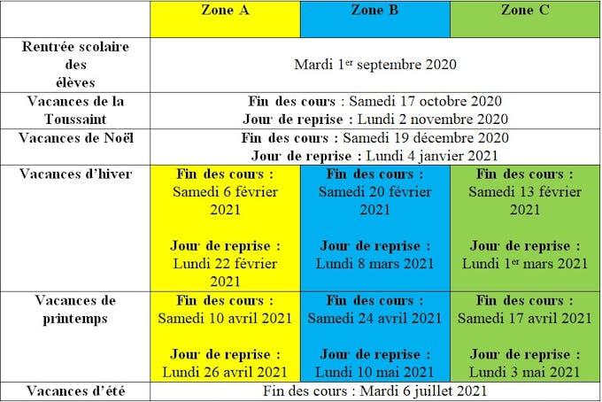 Calendrier Parents Divorcés 2021 Vacances scolaires et jours fériés 2020   2021 : le calendrier