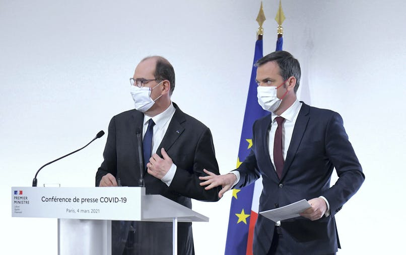 Jean Castex, Olivier Véran, masqués