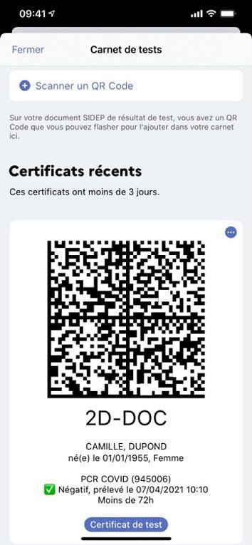 Un certificat de test dans TousAntiCovid