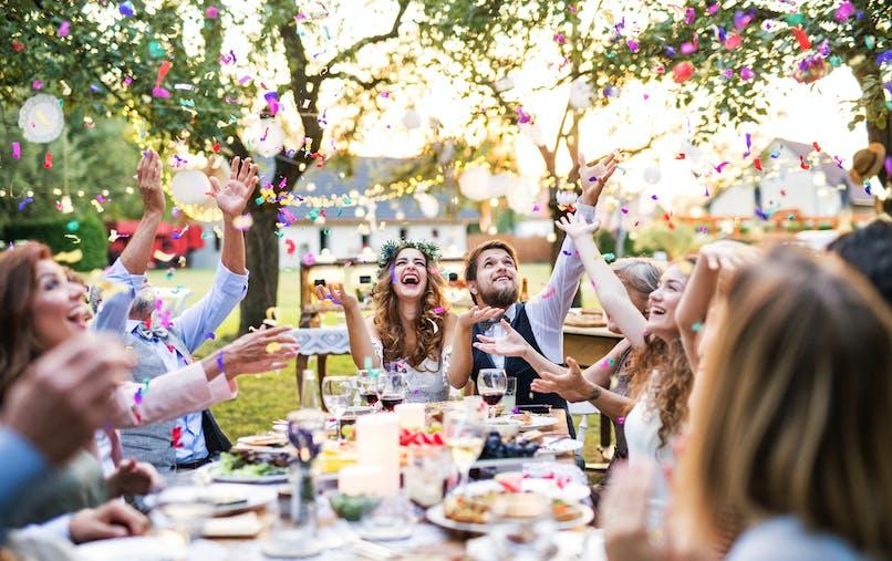Fête, mariage, table, repas, invités