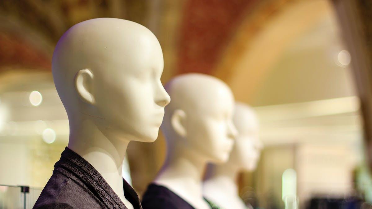 Mannequins, magasin, vêtements
