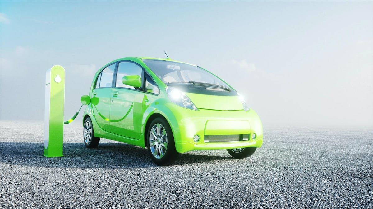 Voiture électrique verte, recharge verte