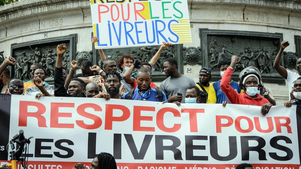Manifestation, Paris, livreurs repas à domicile